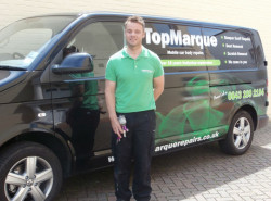 Neal Godfrey with Top Marque Repair van