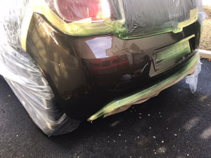 Rear bumper repair after vandal scratched car