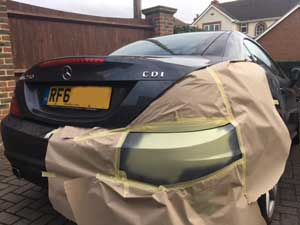 Preparing Mercedes car bumper for paint repair in Chichester
