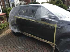 Range Rover Covered in Protective Plastic prior to being sprayed in Worthing