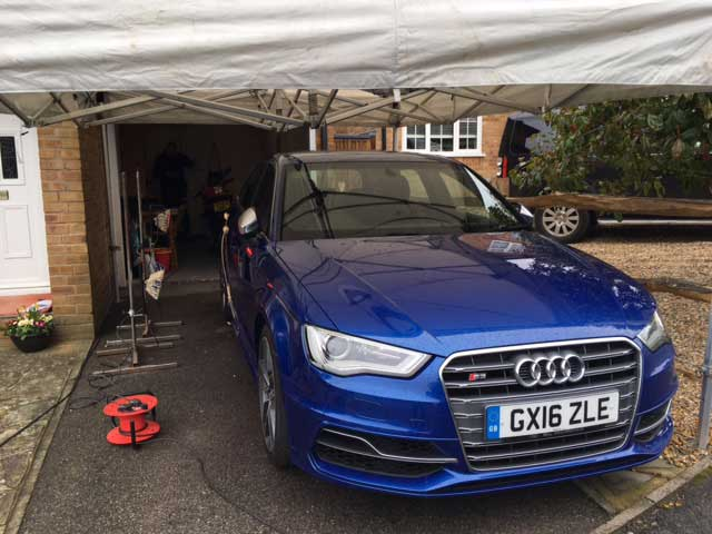 Audi Car Paint Repair Under Gazebo